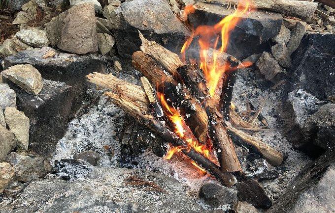 ツリーハウス 焚き火